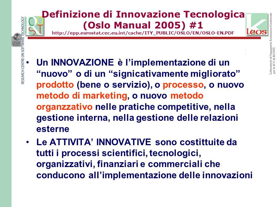 Definizione di Innovazione Tecnologica (Oslo Manual 2005) #1 http://epp.eurostat.cec.eu.int/cache/ITY_PUBLIC/OSLO/EN/OSLO-EN.PDF Un INNOVAZIONE è limplementazione di un nuovo o di un signicativamente migliorato prodotto (bene o servizio), o processo, o nuovo metodo di marketing, o nuovo metodo organzzativo nelle pratiche competitive, nella gestione interna, nella gestione delle relazioni esterne Le ATTIVITA INNOVATIVE sono costittuite da tutti i processi scientifici, tecnologici, organizzativi, finanziari e commerciali che conducono allimplementazione delle innovazioni