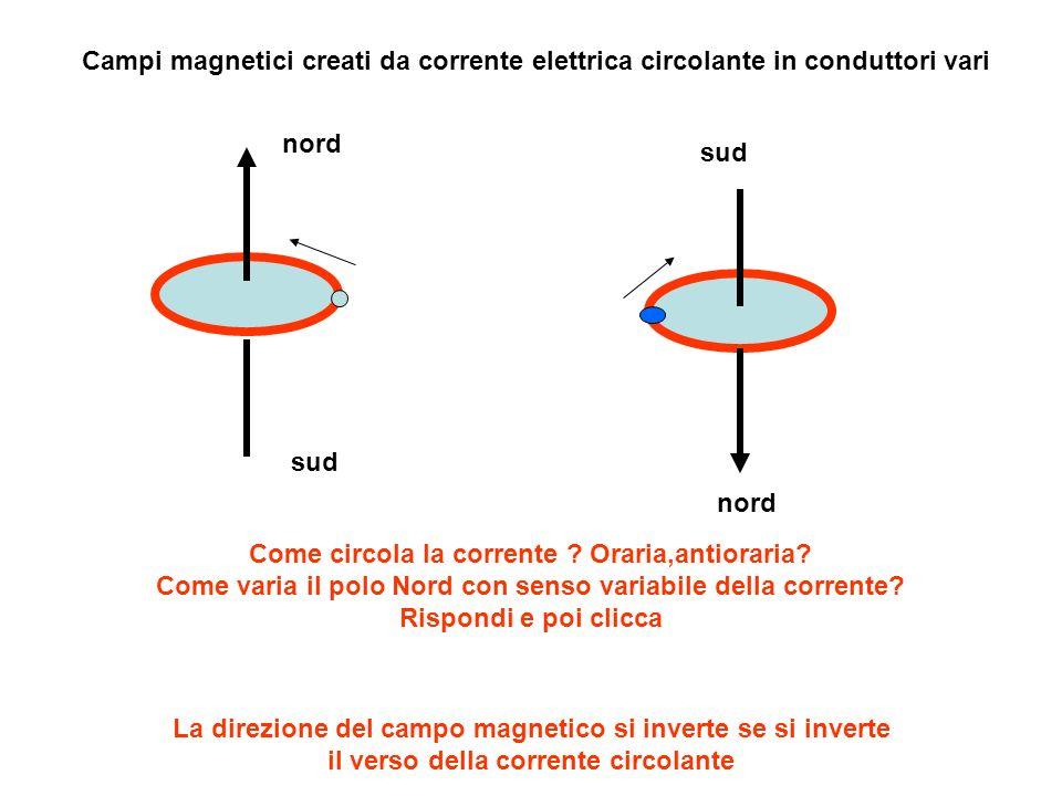 Campi magnetici creati da corrente elettrica circolante in conduttori vari nord sud nord Come circola la corrente ? Oraria,antioraria? Come varia il p