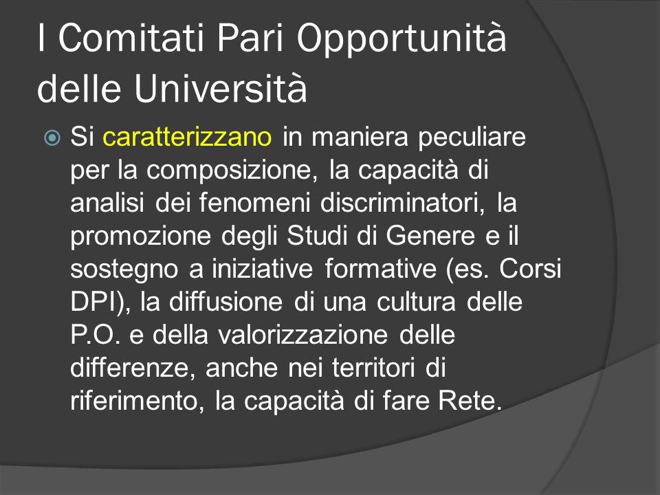 I Comitati Pari Opportunità delle Università Si caratterizzano in maniera peculiare per la composizione, la capacità di analisi dei fenomeni discriminatori, la promozione degli Studi di Genere e il sostegno a iniziative formative (es.