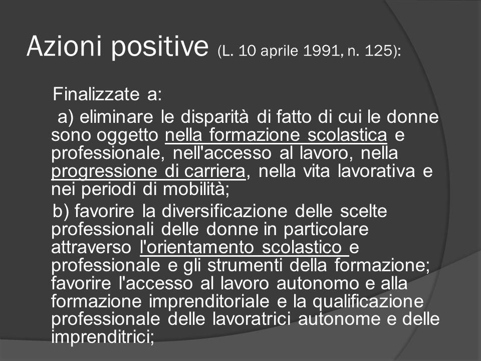 Azioni positive (L. 10 aprile 1991, n.