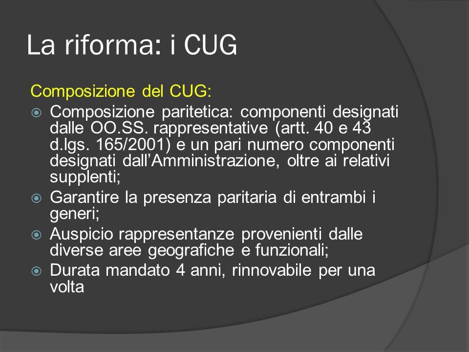 La riforma: i CUG Composizione del CUG: Composizione paritetica: componenti designati dalle OO.SS.