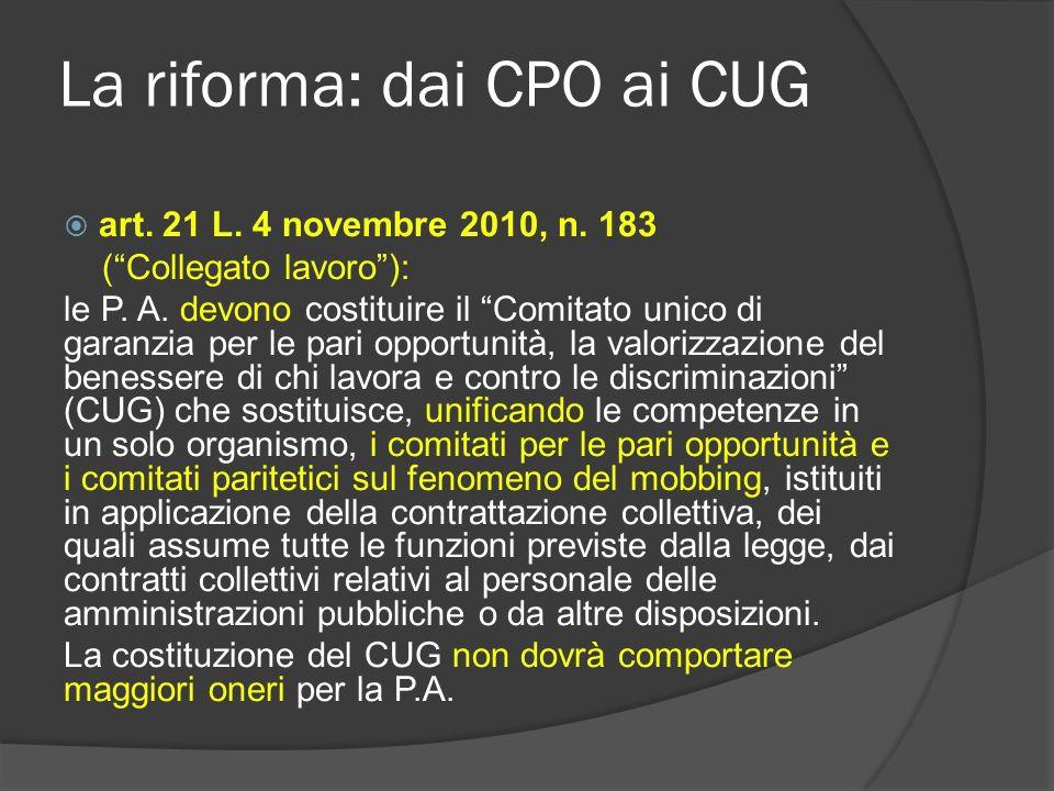 La riforma: dai CPO ai CUG Lattuazione La riforma ha ricevuto unattuazione solo parziale e molto eterogenea (denominazione, composizione, modalità di individuazione componenti e Presidente); Il caso dei Consigli giudiziari