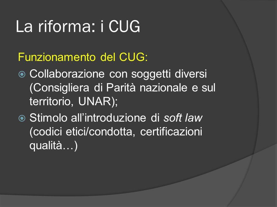 La riforma: i CUG Funzionamento del CUG: Collaborazione con soggetti diversi (Consigliera di Parità nazionale e sul territorio, UNAR); Stimolo allintroduzione di soft law (codici etici/condotta, certificazioni qualità…)