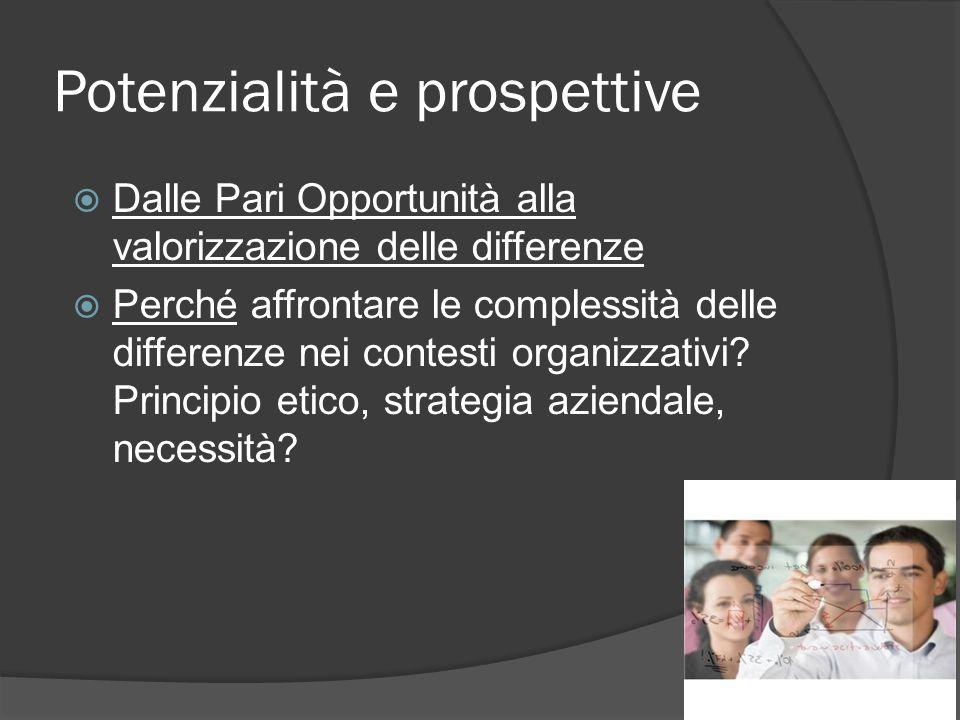 Potenzialità e prospettive Dalle Pari Opportunità alla valorizzazione delle differenze Perché affrontare le complessità delle differenze nei contesti organizzativi.