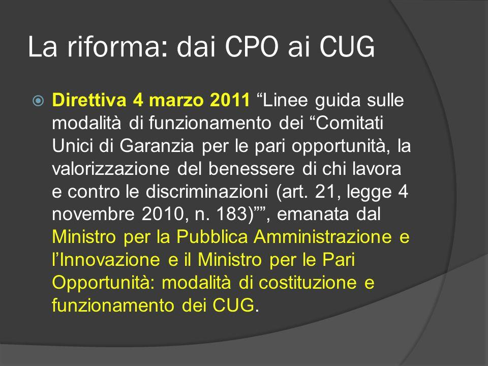 La riforma: dai CPO ai CUG Direttiva 4 marzo 2011 Linee guida sulle modalità di funzionamento dei Comitati Unici di Garanzia per le pari opportunità, la valorizzazione del benessere di chi lavora e contro le discriminazioni (art.