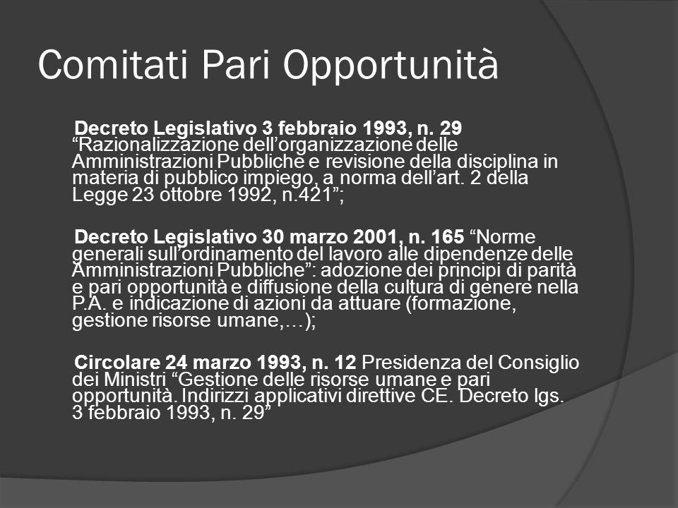 Comitati Pari Opportunità Decreto Legislativo 3 febbraio 1993, n.