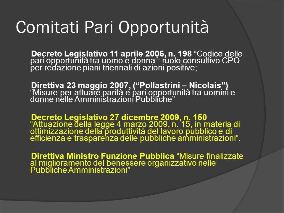 Comitati Pari Opportunità Altri riferimenti, in particolare a livello europeo, sono reperibili sul sito del Dipartimento per le Pari Opportunità: http://www.pariopportunita.gov.it/index.php/normativa -comunitaria