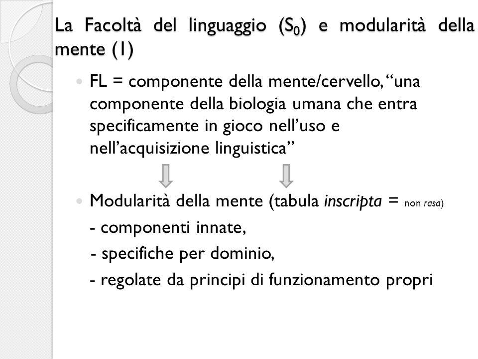 La Facoltà del linguaggio (S 0 ) e modularità della mente (1) FL = componente della mente/cervello, una componente della biologia umana che entra spec