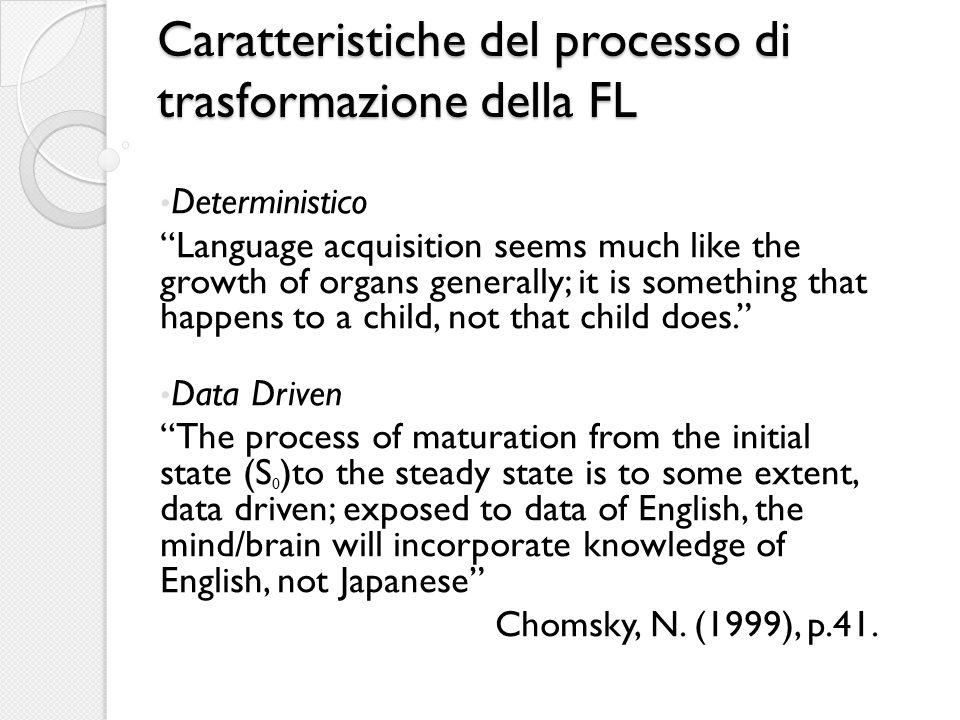 Caratteristiche del processo di trasformazione della FL Deterministico Language acquisition seems much like the growth of organs generally; it is some