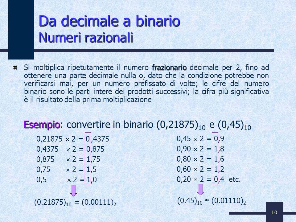 10 frazionario Si moltiplica ripetutamente il numero frazionario decimale per 2, fino ad ottenere una parte decimale nulla o, dato che la condizione p