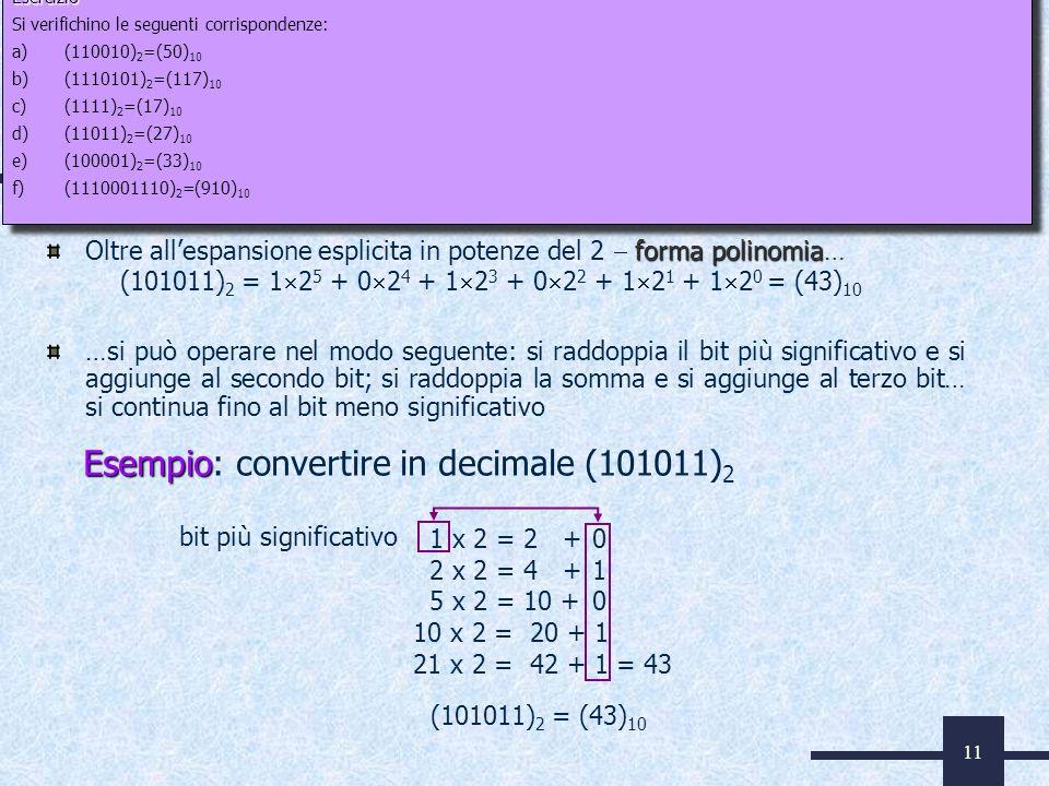 11 Da binario a decimale forma polinomia Oltre allespansione esplicita in potenze del 2 forma polinomia… …si può operare nel modo seguente: si raddopp