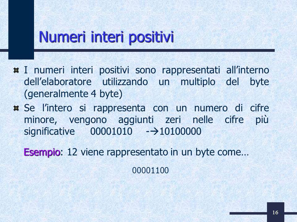 16 Numeri interi positivi I numeri interi positivi sono rappresentati allinterno dellelaboratore utilizzando un multiplo del byte (generalmente 4 byte