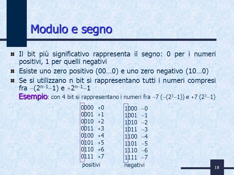 18 Modulo e segno Il bit più significativo rappresenta il segno: 0 per i numeri positivi, 1 per quelli negativi Esiste uno zero positivo (00…0) e uno