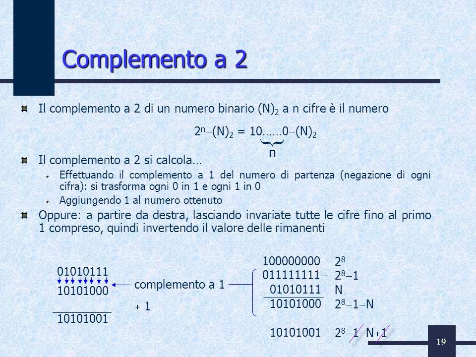 19 Complemento a 2 Il complemento a 2 di un numero binario (N) 2 a n cifre è il numero Il complemento a 2 si calcola… Effettuando il complemento a 1 d