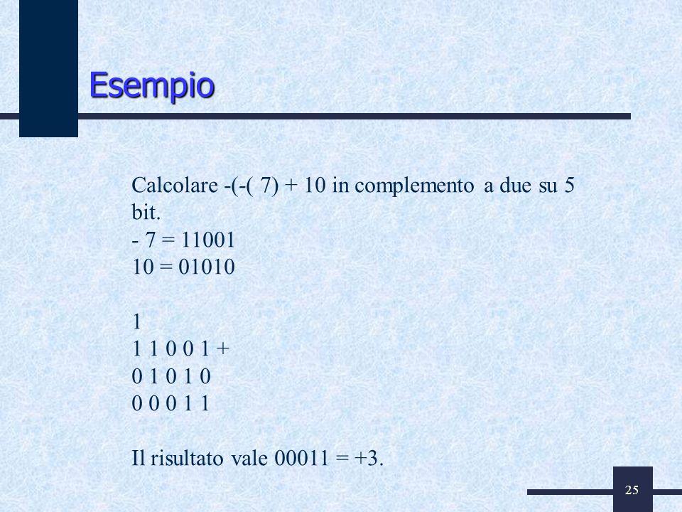25 Calcolare -(-( 7) + 10 in complemento a due su 5 bit. - 7 = 11001 10 = 01010 1 1 1 0 0 1 + 0 1 0 1 0 0 0 0 1 1 Il risultato vale 00011 = +3. Esempi