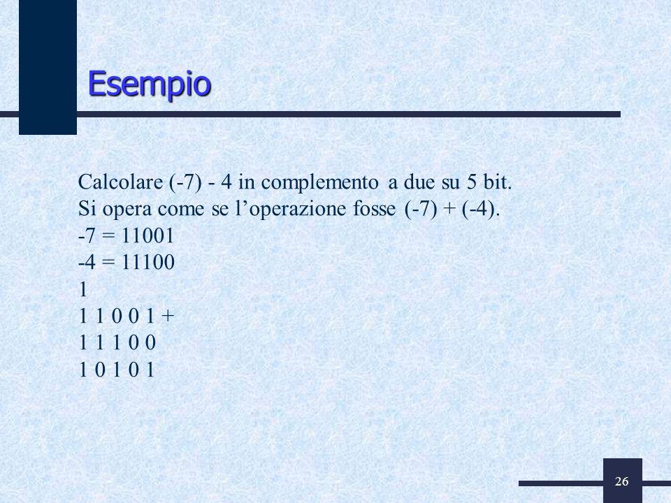 26 Calcolare (-7) - 4 in complemento a due su 5 bit. Si opera come se loperazione fosse (-7) + (-4). -7 = 11001 -4 = 11100 1 1 1 0 0 1 + 1 1 1 0 0 1 0