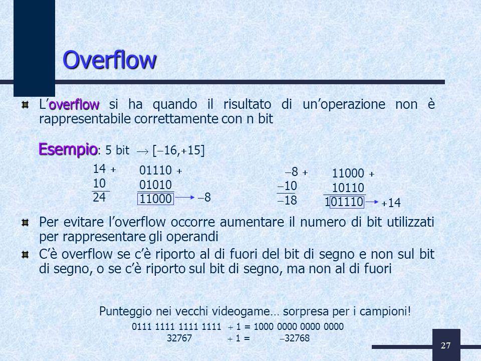 27 Overflow overflow Loverflow si ha quando il risultato di unoperazione non è rappresentabile correttamente con n bit Per evitare loverflow occorre a