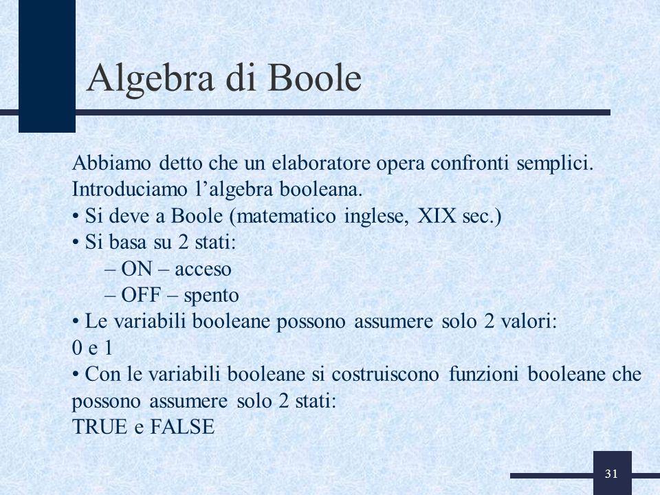 31 Algebra di Boole Abbiamo detto che un elaboratore opera confronti semplici. Introduciamo lalgebra booleana. Si deve a Boole (matematico inglese, XI