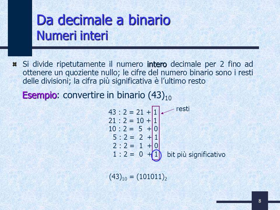 8 Da decimale a binario Numeri interi intero Si divide ripetutamente il numero intero decimale per 2 fino ad ottenere un quoziente nullo; le cifre del