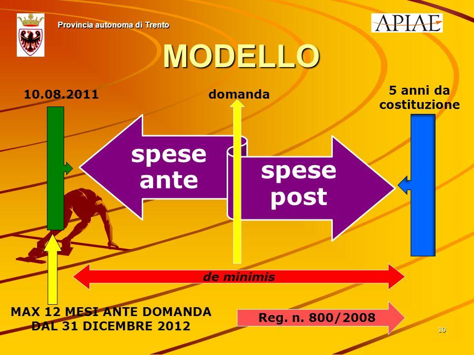10 Provincia autonoma di Trento spese ante spese post 10.08.2011domanda 5 anni da costituzione MODELLO de minimis Reg.