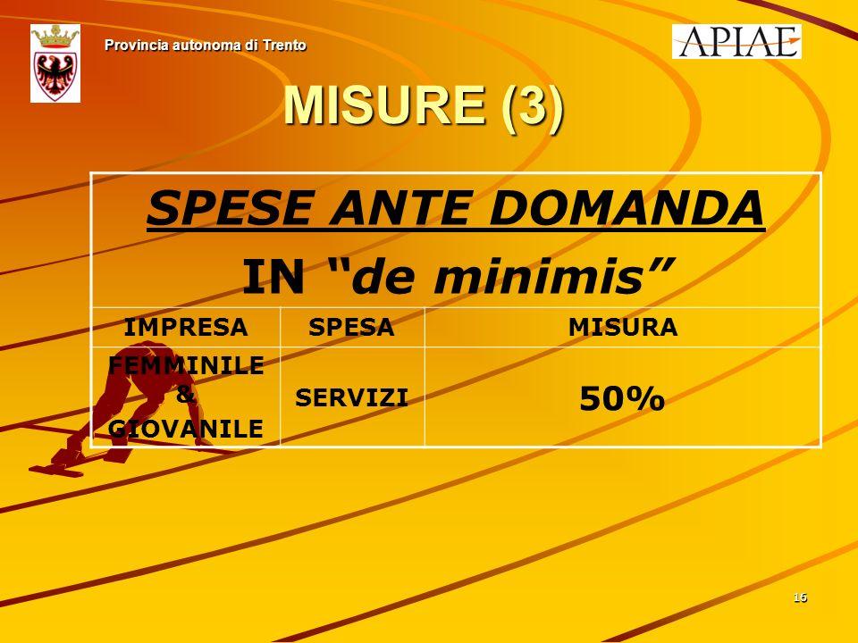 1616 MISURE (3) Provincia autonoma di Trento SPESE ANTE DOMANDA IN de minimis IMPRESASPESAMISURA FEMMINILE & GIOVANILE SERVIZI 50%