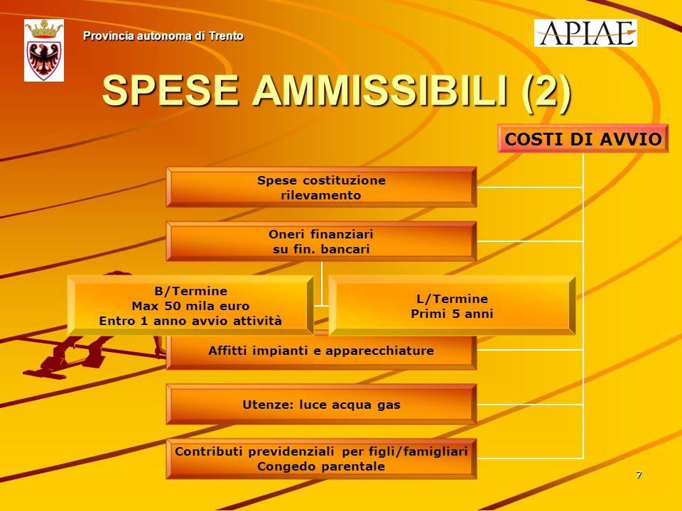 77 SPESE AMMISSIBILI (2) Provincia autonoma di Trento COSTI DI AVVIO Spese costituzione rilevamento Oneri finanziari su fin.