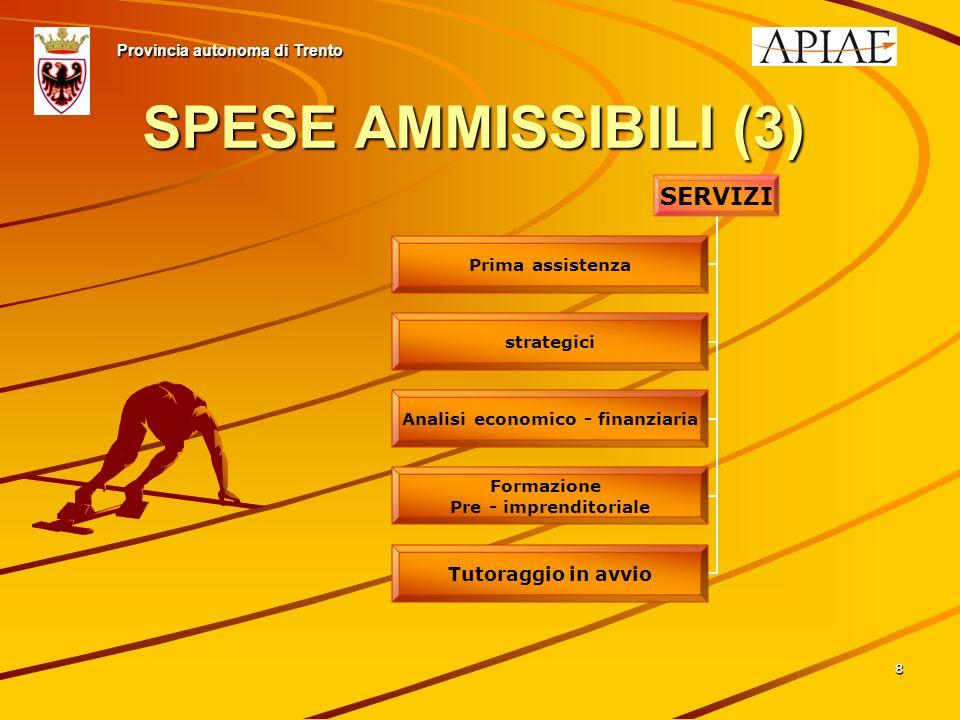 88 SPESE AMMISSIBILI (3) Provincia autonoma di Trento SERVIZI Prima assistenza strategici Analisi economico - finanziaria Formazione Pre - imprenditoriale Tutoraggio in avvio