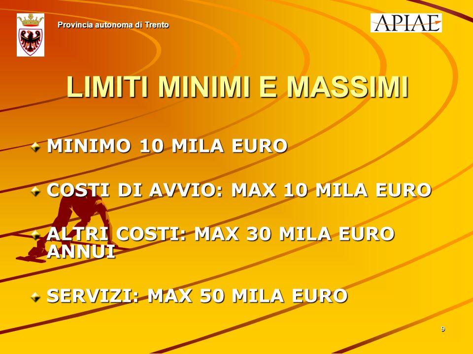 99 LIMITI MINIMI E MASSIMI MINIMO 10 MILA EURO COSTI DI AVVIO: MAX 10 MILA EURO ALTRI COSTI: MAX 30 MILA EURO ANNUI SERVIZI: MAX 50 MILA EURO Provincia autonoma di Trento