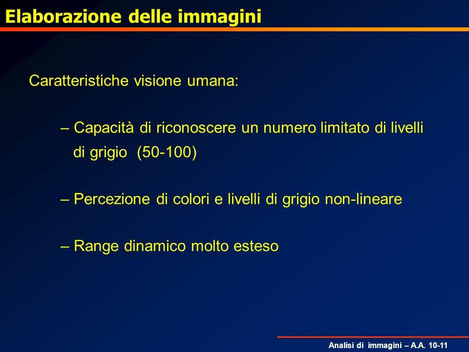 Analisi di immagini – A.A. 10-11 Elaborazione delle immagini Caratteristiche visione umana: – Capacità di riconoscere un numero limitato di livelli di