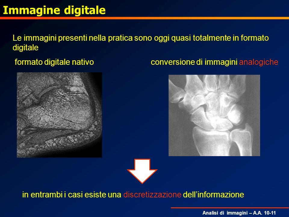 Analisi di immagini – A.A. 10-11 Immagine digitale Le immagini presenti nella pratica sono oggi quasi totalmente in formato digitale formato digitale