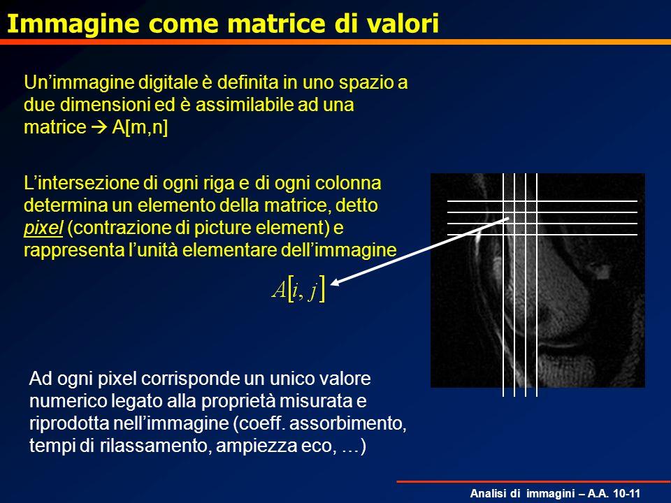 Analisi di immagini – A.A. 10-11 Immagine come matrice di valori Unimmagine digitale è definita in uno spazio a due dimensioni ed è assimilabile ad un