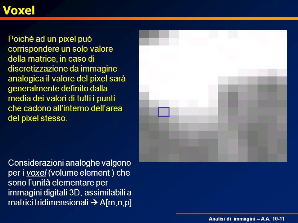Analisi di immagini – A.A. 10-11 Voxel Poiché ad un pixel può corrispondere un solo valore della matrice, in caso di discretizzazione da immagine anal