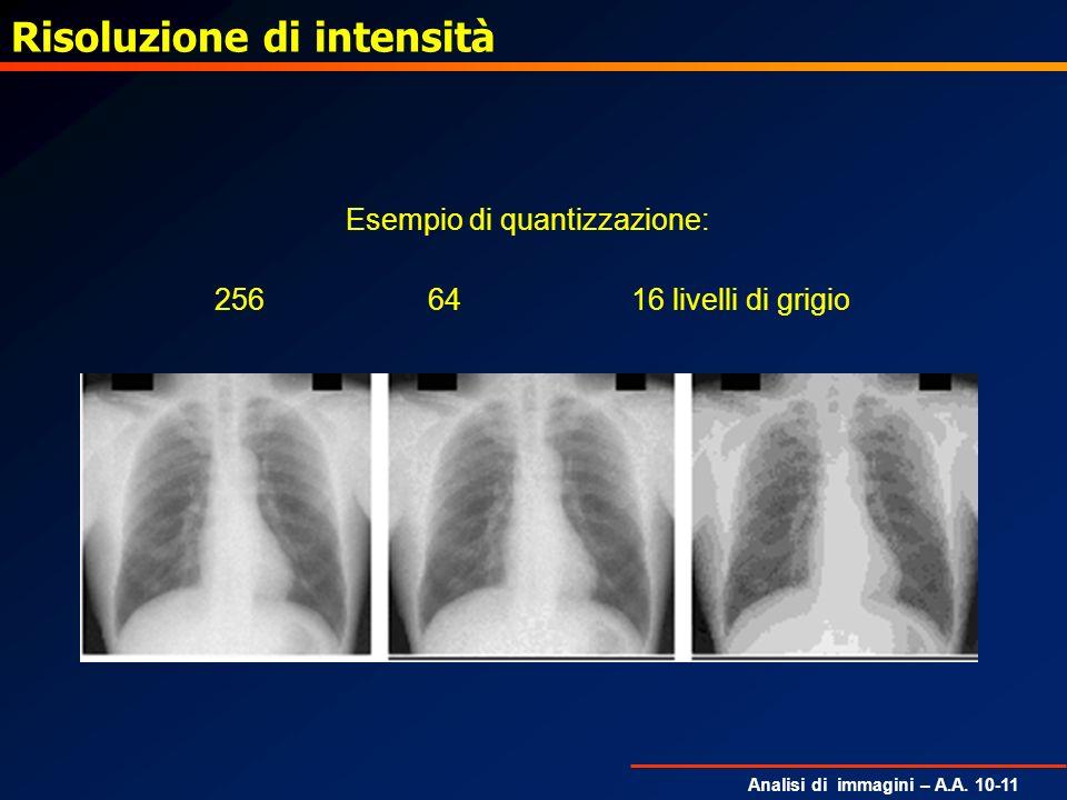 Analisi di immagini – A.A. 10-11 Risoluzione di intensità Esempio di quantizzazione: 256 64 16 livelli di grigio