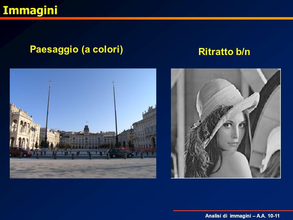 Analisi di immagini – A.A. 10-11 Immagini Paesaggio (a colori) Ritratto b/n