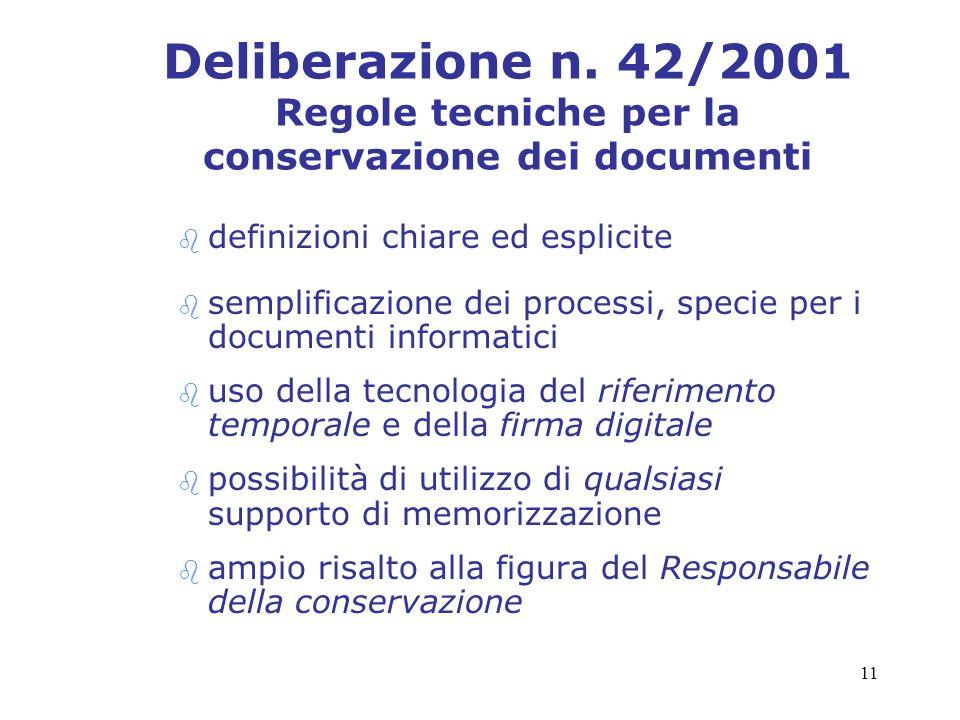 11 Deliberazione n. 42/2001 Regole tecniche per la conservazione dei documenti b definizioni chiare ed esplicite b semplificazione dei processi, speci