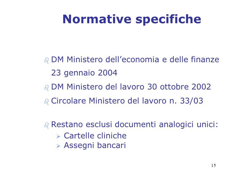 15 Normative specifiche b DM Ministero delleconomia e delle finanze 23 gennaio 2004 b DM Ministero del lavoro 30 ottobre 2002 b Circolare Ministero de