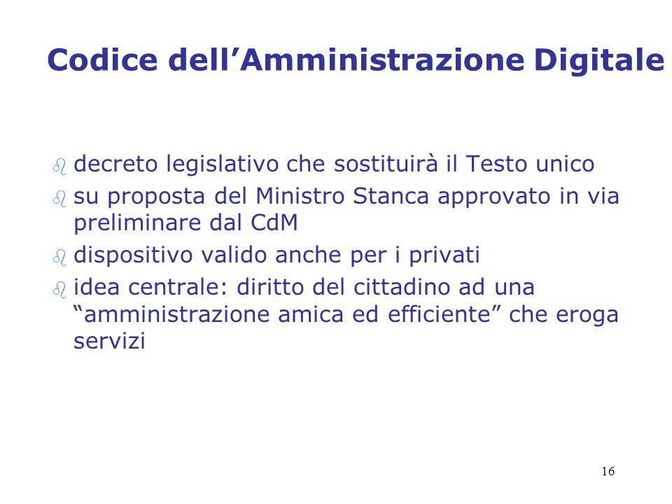 16 Codice dellAmministrazione Digitale b decreto legislativo che sostituirà il Testo unico b su proposta del Ministro Stanca approvato in via prelimin