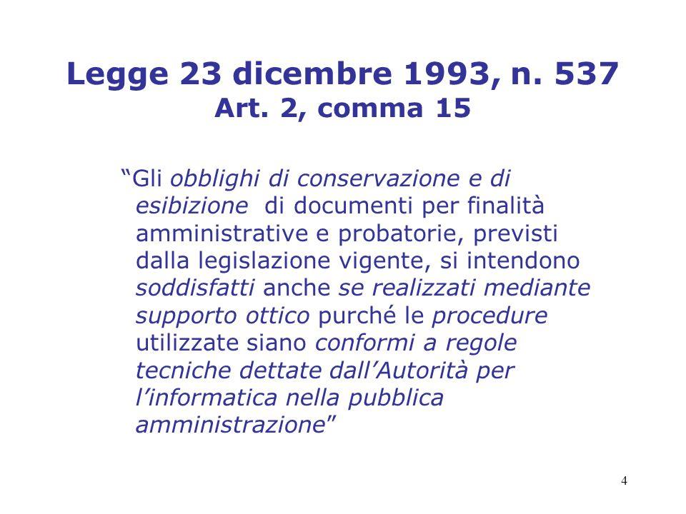 4 Legge 23 dicembre 1993, n. 537 Art. 2, comma 15 Gli obblighi di conservazione e di esibizione di documenti per finalità amministrative e probatorie,