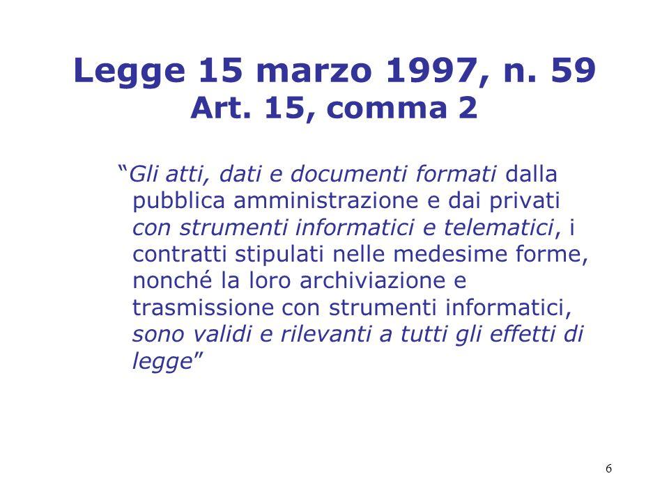 6 Legge 15 marzo 1997, n. 59 Art. 15, comma 2 Gli atti, dati e documenti formati dalla pubblica amministrazione e dai privati con strumenti informatic