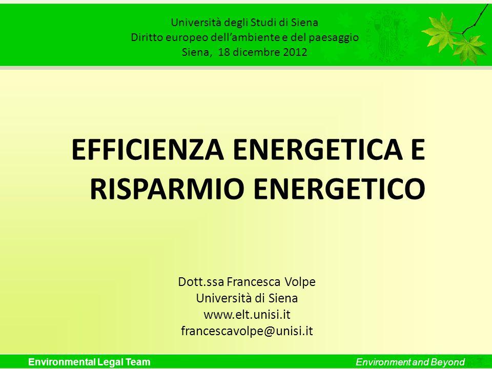 Environmental Legal TeamEnvironment and Beyond Università degli Studi di Siena Diritto europeo dellambiente e del paesaggio Siena, 18 dicembre 2012 EF