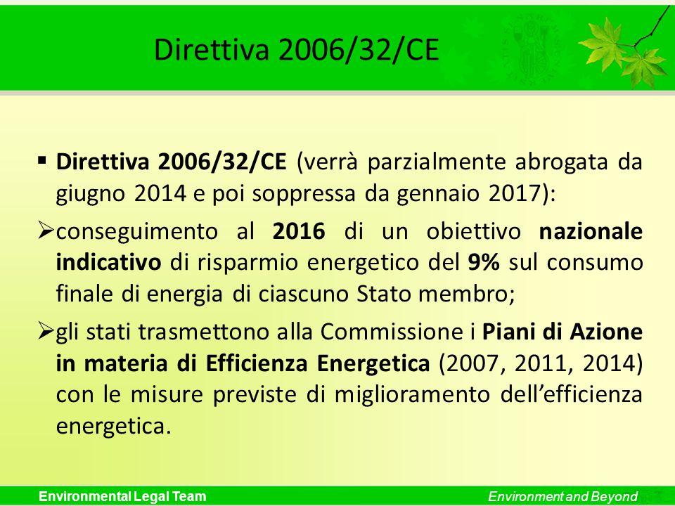 Environmental Legal TeamEnvironment and Beyond Direttiva 2006/32/CE Direttiva 2006/32/CE (verrà parzialmente abrogata da giugno 2014 e poi soppressa d