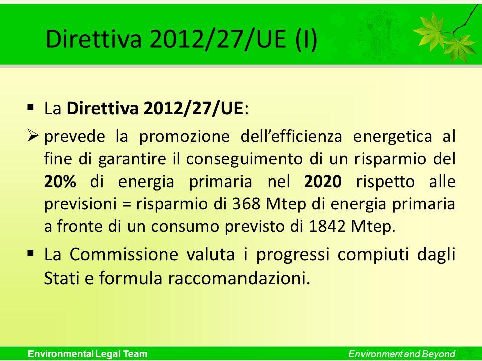 Environmental Legal TeamEnvironment and Beyond Direttiva 2012/27/UE (I) La Direttiva 2012/27/UE: prevede la promozione dellefficienza energetica al fi