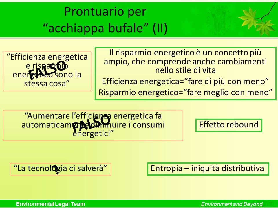 Environmental Legal TeamEnvironment and Beyond Prontuario peracchiappa bufale (II) Efficienza energetica e risparmio energetico sono la stessa cosa FA