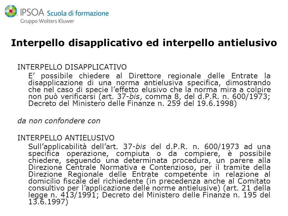 Linterpello disapplicativo Art.37-bis D.P.R.