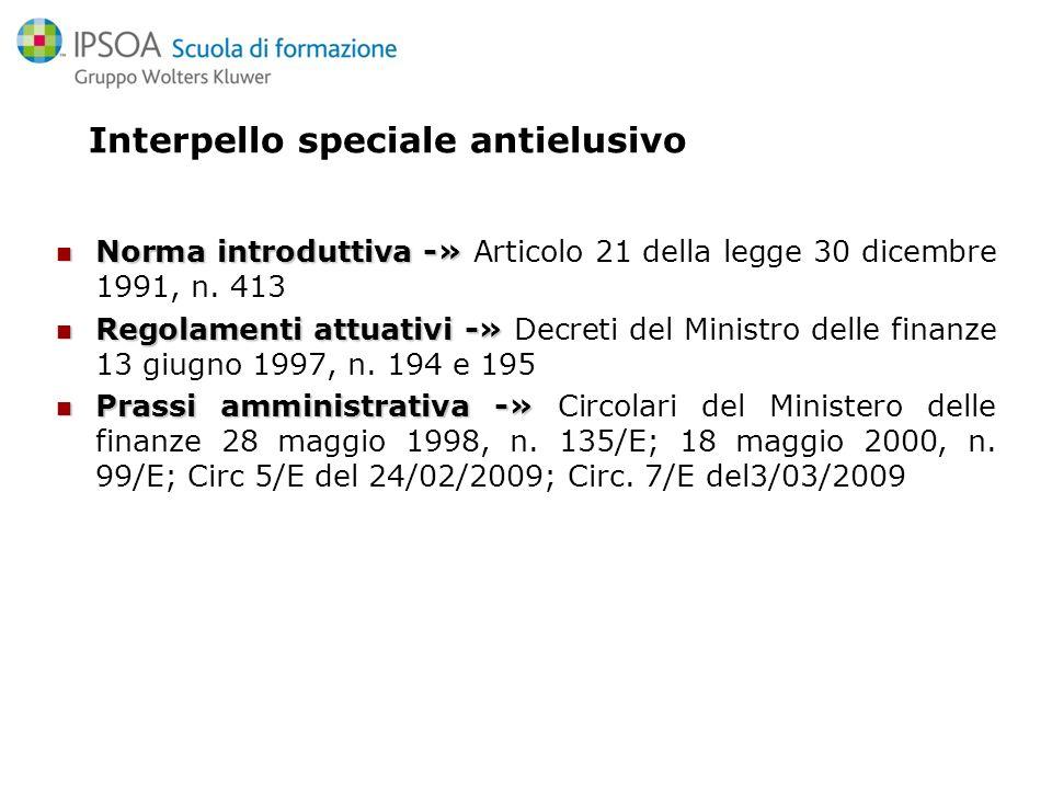 Linterpello speciale antielusivo L.413/1991 art.21 Lart.