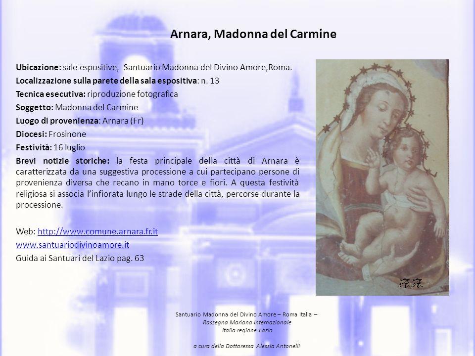 Arnara, Madonna of Carmine Location: expositive rooms, the Santuario Madonna del Divino Amore, Rome.