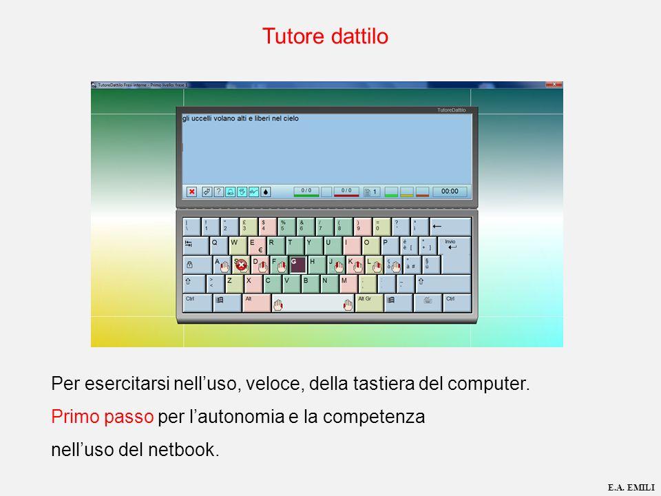 Per esercitarsi nelluso, veloce, della tastiera del computer. Primo passo per lautonomia e la competenza nelluso del netbook. E.A. EMILI Tutore dattil