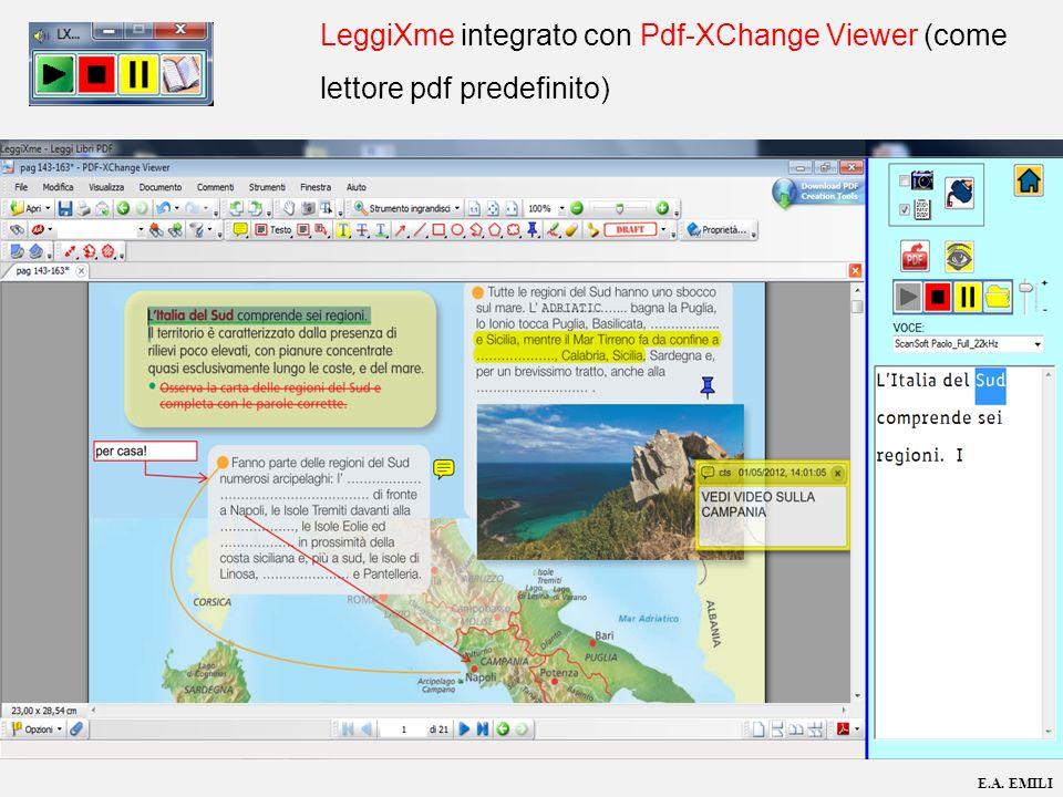 E.A. EMILI LeggiXme integrato con Pdf-XChange Viewer (come lettore pdf predefinito)