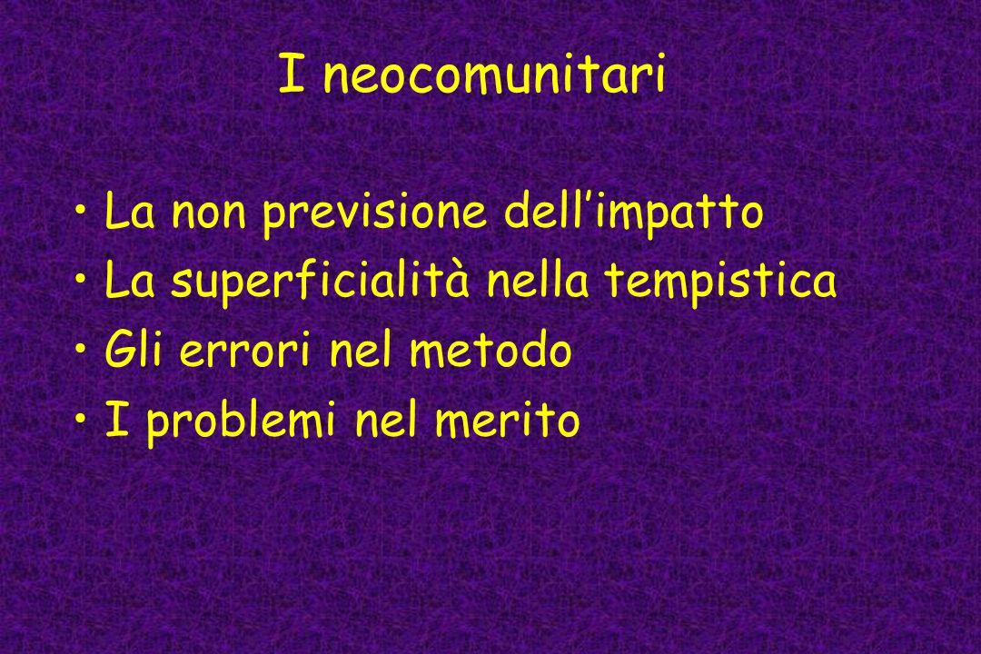 I neocomunitari La non previsione dellimpatto La superficialità nella tempistica Gli errori nel metodo I problemi nel merito