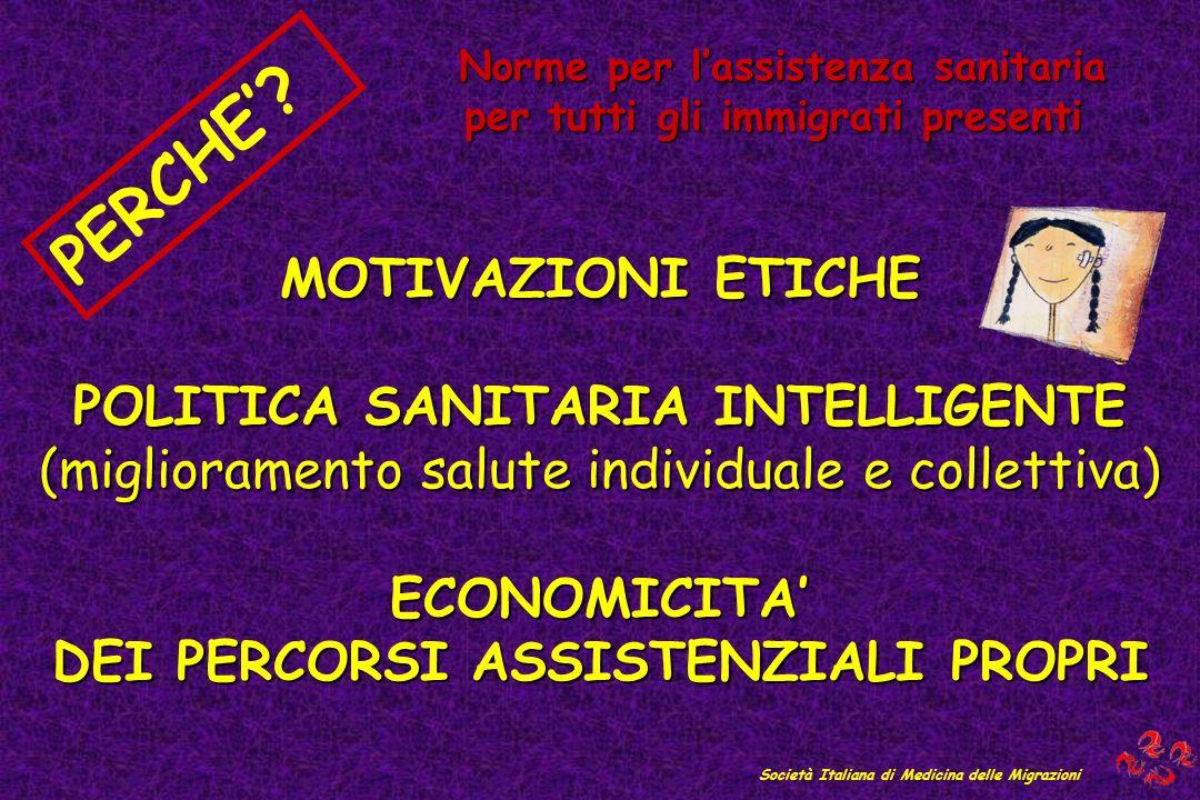 MOTIVAZIONI ETICHE POLITICA SANITARIA INTELLIGENTE (miglioramento salute individuale e collettiva) ECONOMICITA DEI PERCORSI ASSISTENZIALI PROPRI PERCHE.
